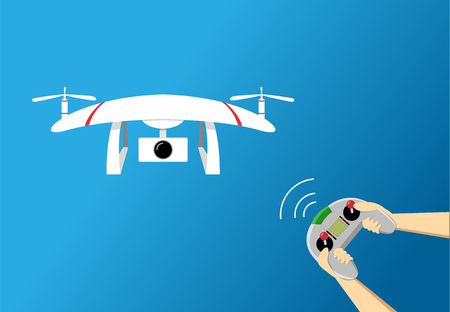 Play drone by remote controller, vector art design Illustration