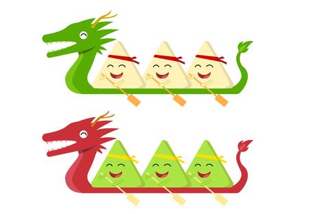 Rice dumpling on dragon boat on white, vector design