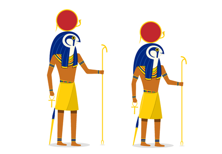 Ra, god of the sun isolated on white in vector art design