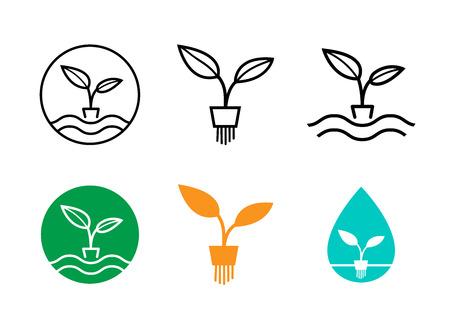 Hydroponics plants logo and symbol, vector art design Illustration