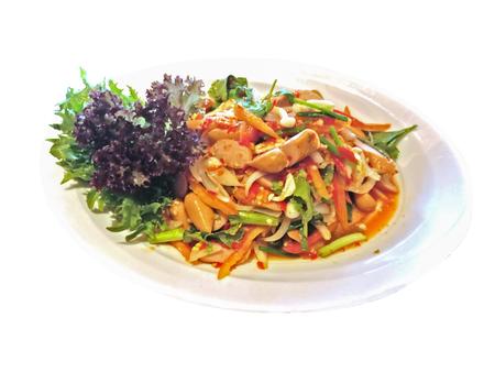 Pork sausage salad on plate, isolated on white background Standard-Bild
