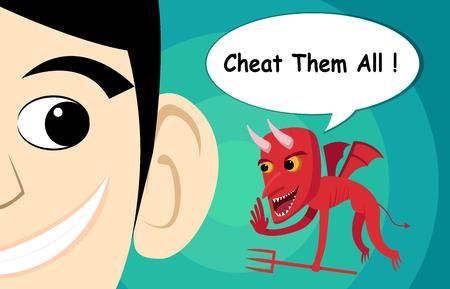 Flying evil advice man to chest, vector cartoon art.