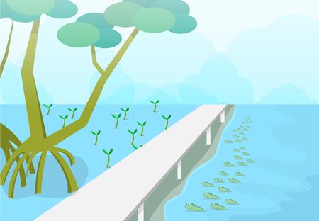 Mudskipper in mangroves forest, nature vector art design Illustration
