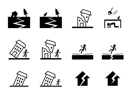 Set of earthquake icon and symbol in vector art design