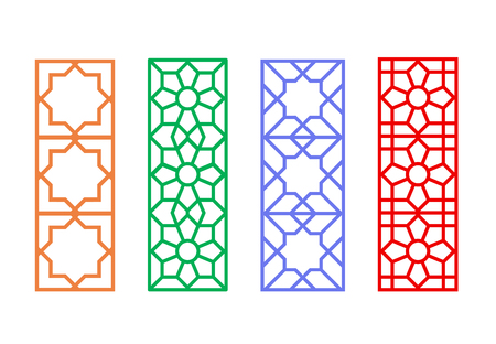 Chinese rectangle window frame with islamic linear pattern, vector Ilustrace