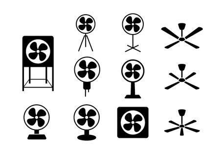 Set electric fan icon in silhouette style vector art