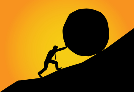 Man trying to move big stone ball to top of hill, vector illustration. Ilustração