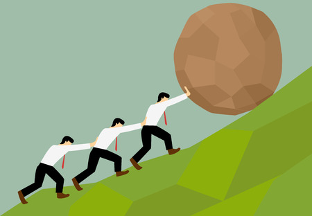 Colored cartoon of group of man try to move a stone ball to the top of the hill.