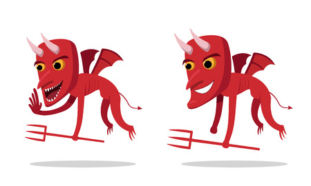 Devils talking and whispering, side view, vector art.