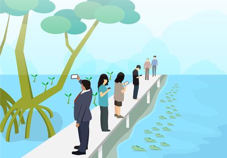 Tourist in mangroves with mudskipper, vector art design.
