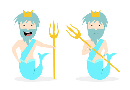 Poseidon, God of the Sea in flat vector art design.