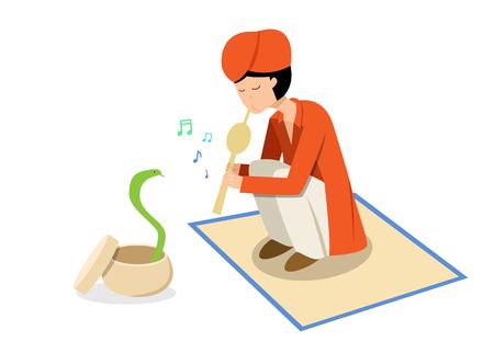 Snake charmer and cobra in flat vector art design