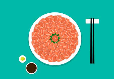 Top view, Sashimi salmon on white plate, vector art