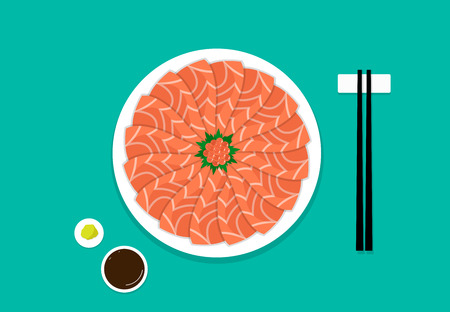 Top view, Sashimi salmon on white plate, vector art