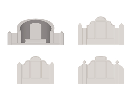Chinese tombstone in vector art design, front view