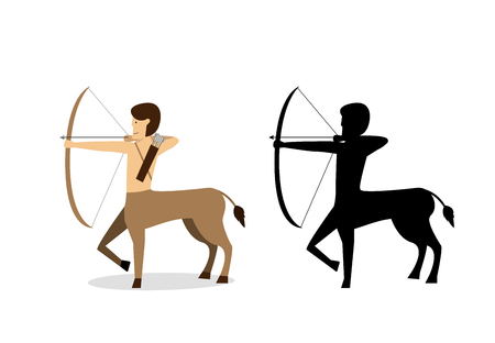 Centaur archer in flat and silhouette style vector design