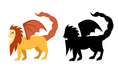 Side view, Manticore in flat and silhouette vector art design