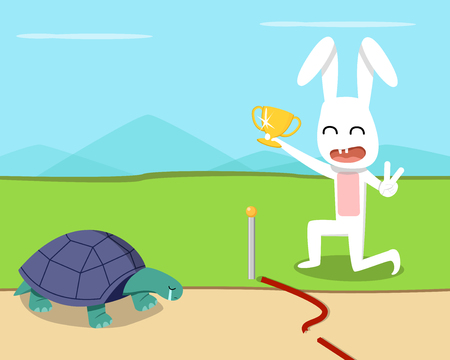 Rabbit wins the turtle in the race, vector art design Illustration