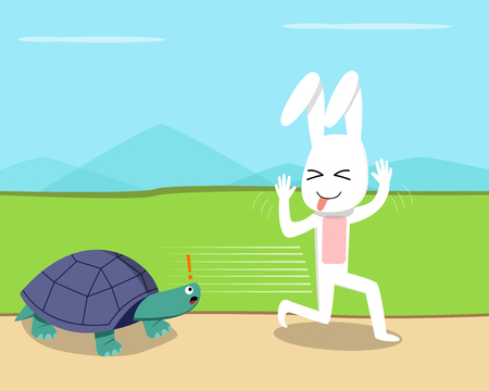 Lapin a couru sur la tortue, conception d'art vectoriel