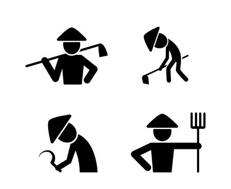 Set di icone di contadino in stile semplice, disegno di arte vettoriale