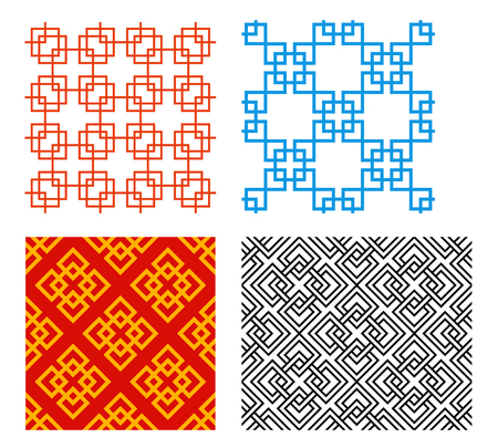 Seamless Chinese pattern in geometric style vector art Vectores