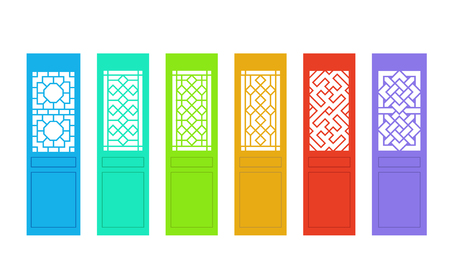 Rectangle Chinese door with pattern in flat vector art