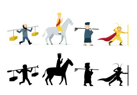 Viaggio in personaggi occidentali in piano su sfondo bianco