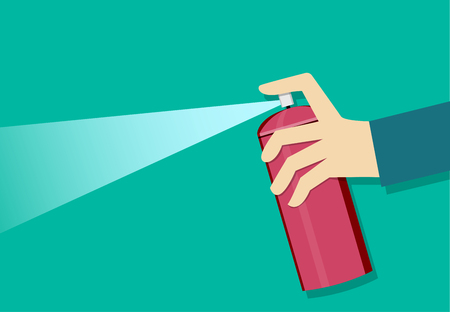 A man holding a spray can and use it, vector art design