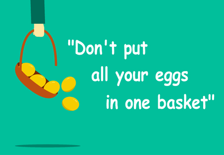 Don't put all your eggs in one basket with vector art Standard-Bild - 100814237