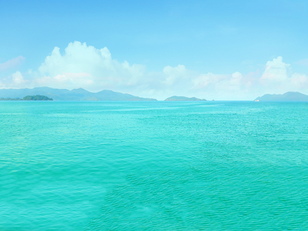 Green Blue sea with island and sky in Thailand