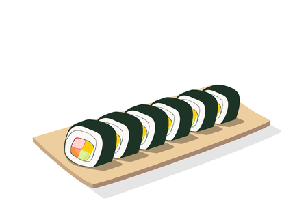 Sliced sushi roll on wooden plate, isolated vector art Illustration