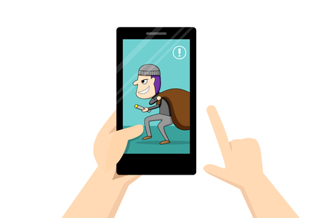 Man look at smartphone that show theif in his home, vector art