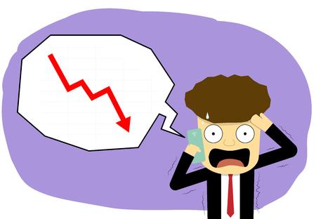 Uomo d'affari di panico con smartphone nel mercato azionario, arte vettoriale Vettoriali