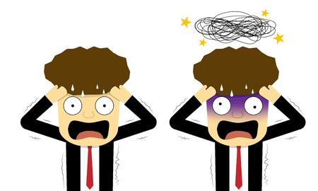Pánico y empresario confundido en plano, diseño de arte vectorial
