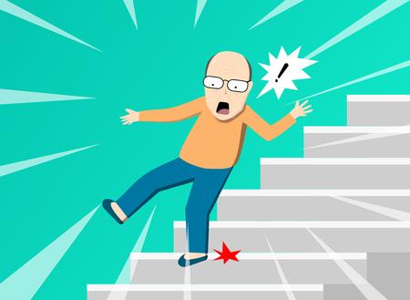 Senior man falling from staircase, vector art design