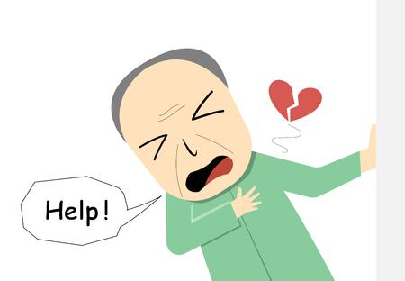 Anciano que sufre de un ataque al corazón en el diseño de arte vectorial