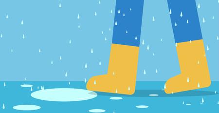 Pieds d & # 39; homme en bottes de pluie à pied sur la route avec de la pluie, vector art