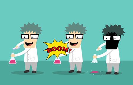 Scientist kid got accident from experimentation, vector art