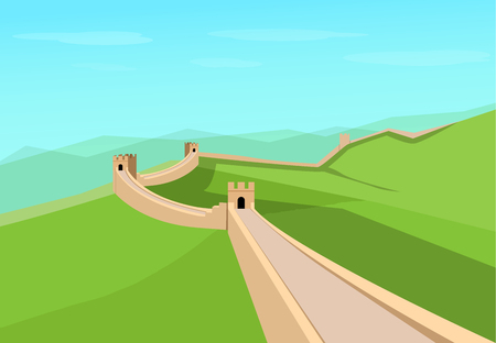 Great Wall of China in flat vector art design