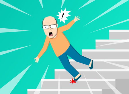 Old man falling from staircase, vector art design