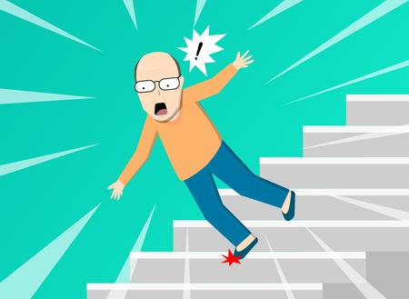 Vieil homme tombant d'escalier, conception d'art vectoriel Vecteurs