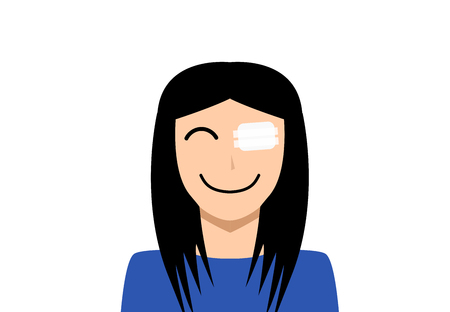 Medicine plaster patch on woman injury wound eye, vector art Stock Illustratie