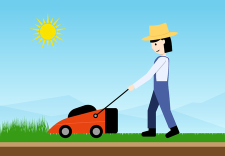 Woman use lawn mower, side view. flat vector art design Ilustração