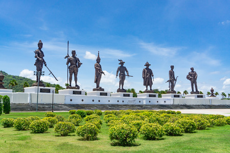 HUAHIN, THAILAND - August 31, 2018 : Rajabhakti Park with 7 Kings giant statues