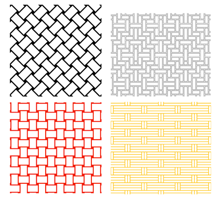 Seamless weave rattan pattern in silhouette vector art