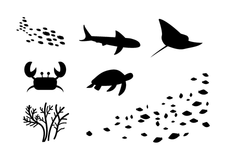 Silhouette of fish,stingray, crab, turtle, coral, vector art