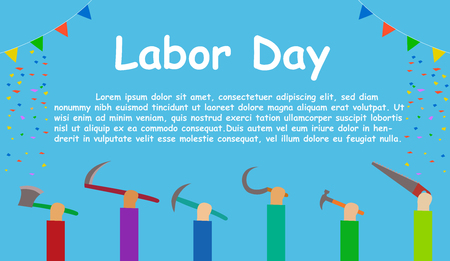 Labor day , Workers show their tool up, vector 일러스트