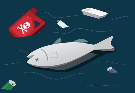 L'inquinamento delle acque rende i pesci morti, arte vettoriale