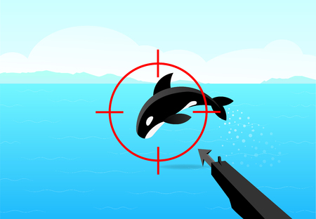 Hunter aimed his gun at killer whale, vector art design