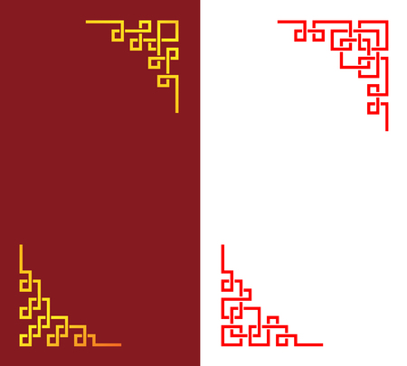 Set of Chinese corner in linear style, vector art design